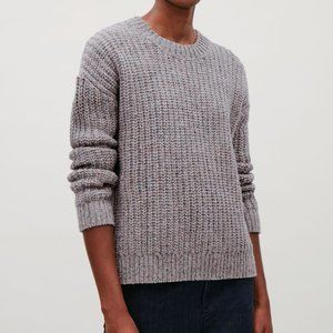 COS Speckled Jumper Gray Wool Silk Blend Sweater